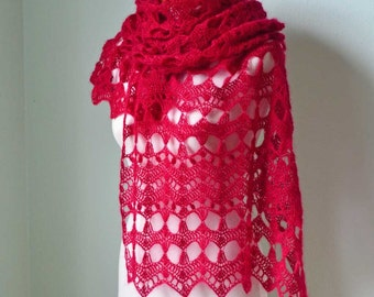 SALE, HALF PRICE,  Crochet shawl, scarf, lace, Ruby Red  H784