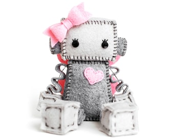 Fairy Robot Plush with Pink Fairy Wings, Girl Robot with Pink Bow and Heart