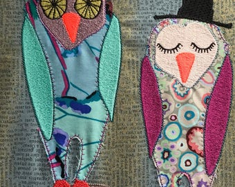 Artsy Applique Owls, Machine Embroidery Design, 2 sizes, very versatile for your textile projects, easy customisable, INSTANT DOWNLOAD