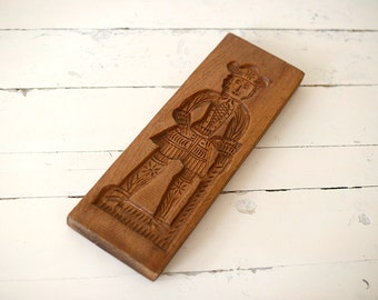 Antique Wood Cookie Mold, Gingerbread Speculaas, Hand carved Dutch Molds