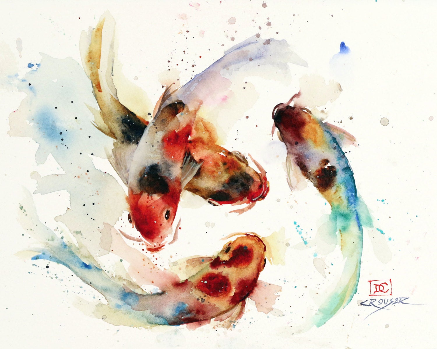 Koi school watercolor fish art koi print koi painting koi for Japanese koi carp paintings