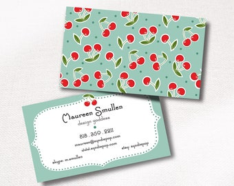 250+ Premium Business Cards | Red Cherry Pattern | Retirement Gift for Her | Business Card for Crafter | Sewing Business