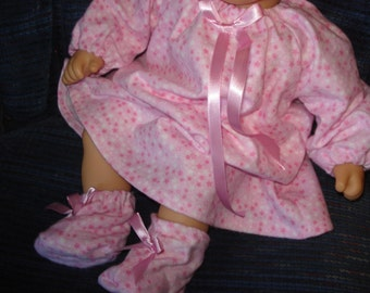 ready to ship Pink flannel Long Nightgown and Slippers, made to fit  doll like Bitty  Baby or 15 inch doll