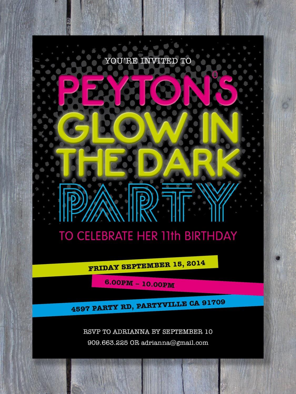 GLOW in the DARK Party Invitation for Birthday Black Light