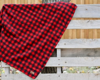 Buffalo Plaid (Red and Black) Baby Blanket / Stroller Blanket / Lovey Blanket / Car Seat Blanket / Baby Bedding / Modern Nursery