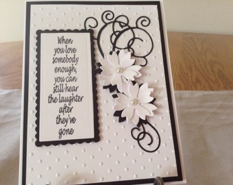 Beautiful black and white Sympathy Card.