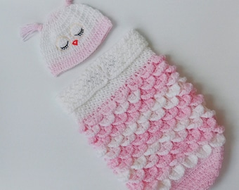 Crochet baby pattern, BABY COCOON and Cap PATTERN, Owl Sleeping Sack, Owl Hat Pattern, Owl Photo Prop, Owl Baby Cocoon, baby shower gift