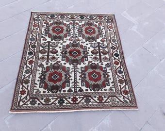 "Vintage Turkish Rug Oriental Rug Handwoven Rug Area Rug Square Rug Wool Rug Tribal Rug Unique Rug Aztec Rug 4'1"" x 5' Feet Free Shipping !"
