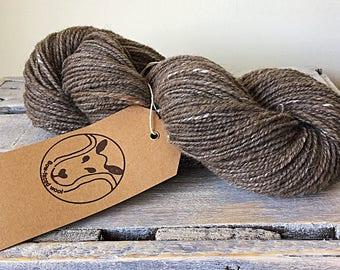 Hand spun fiber, 100% Blue Faced Leicester with silk wool.