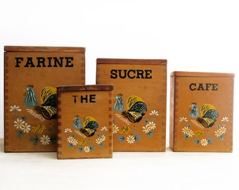Mid century kitchen canisters, wood rooster jars, french signs,French  Vintage containers