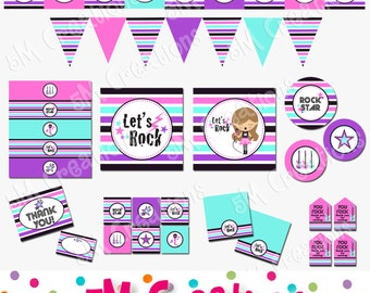 Rock Star Birthday Party Printable Decorations Package  - Rock N Roll Party - Rock Star Banner Cupcake Topper - Stars - INSTANT DOWNLOAD Pdf