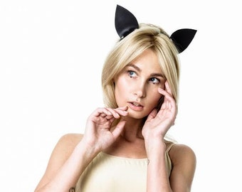 100% Genuine Leather Cosplay Cat Ears