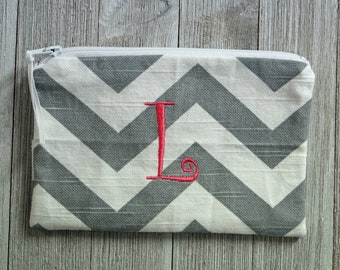 """Monogrammed Cosmetic Bag -  Zippered Pouch -  Make Up Bag - Hot Pink """"L"""""""