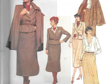 "Vintage 1970s Vogue Paris Original Pattern 2020- Chloe Misses' Jacket, Skirt, Cape and Blouse size 10 bust 32 1/2"" uncut FF"