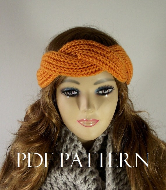 Knitting Pattern Headband Twisted Regina Headband Ear