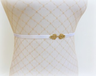 White elastic waist belt. Thin belt. Dress belt. Gold filigree belt. Skinny belt. Bridal belt.