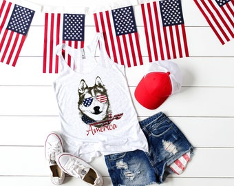 Patriotic Pooch- American Husky Red, White, & Blue vintage style Flowy Racerback womens' Tank Top
