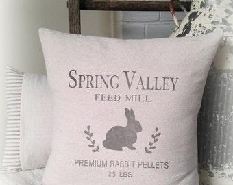 Spring Pillow, Bunny Pillow, Rabbit Pillow, Pillow Cover