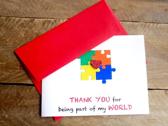 Well-liked Autism Thank You Card Autism Awareness Puzzle Piece Card KJ38