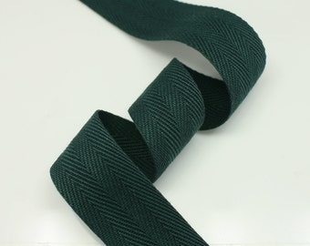 """5 Yards of Spruce color 15mm (5/8"""") or 25mm (1"""") Cotton Twill Herringbone Ribbon Fabric Ribbon Tape Vintage Color trim - Annielov Crafts"""