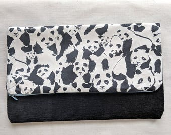 Panda Foldover Clutch /  Magnetic Snap - Upcycled Corduroy