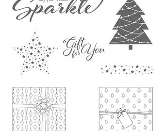 Stampin' Up! Clear Mount Add a Little Glitz Stamp Set Christmas Trees Presents Holiday Sparkle Star