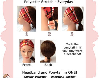 Headband + Ponytail  Combo - Red Orange Black - Single Layer Wide Nylon - water sports headband motorcycle headbands Pretty Practical Bands
