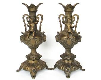 Set of 2 Heavy Antique Candlesticks Cherub, Putti, Capricorn. Candle holder. #6AAG952K7