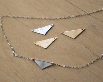Triangle Pendant Charm -Gold Filled, Rose Gold Filled, Sterling silver, 22g,  20x7mm