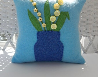 Recycled Cashmere Decorative Flower Pillow in Light Blue - Vase of Yellow Flowers