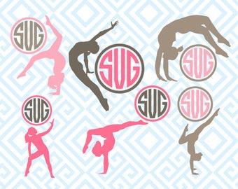 Gymnastics Monogram, Gymnastics Woman, Digital Cutting Files, Svg Files for Silhouette, Cricut, Sport SVG, Gymnastic Monogram Frame, 76luna