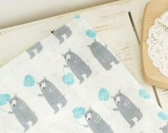 Double Gauze Fabric 100% Cotton by the yard Korea Gauze fabrics Baby Blanket _BEAR_IL094812