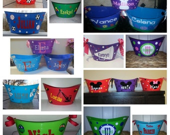 Easter basket etsy customized personalized basket plastic tote storage easter basket name bucket negle Image collections