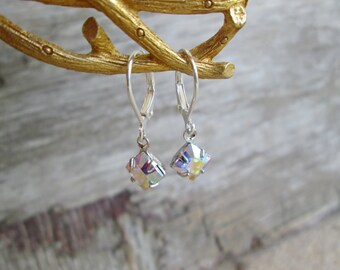 Swarovski AB Silver Clear Aurora Borealis Crystal  Petite Dangle Earrings