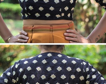 Navy Blue Block Print Style White Floral Embroidery Raw Silk Blouse