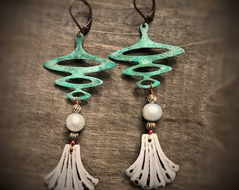 Oceanic upcycled assemblage earrings, verdigris patina wave drops, pale blue freshwater pearls, eco recycled vintage abstract shell drops