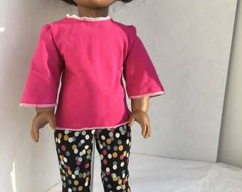 Shirt with bell sleeves for 18 inch dolls