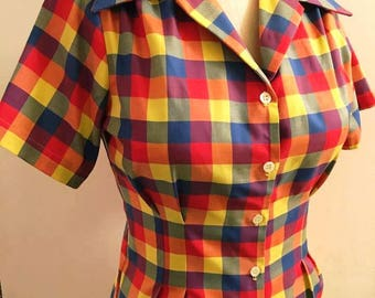 Primary plaid cotton 1940s style short sleeve cotton blouse Ready to Ship S only