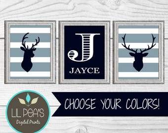Buck and Deer Nursery Digital Prints, Buck Nursery Decor, Outdoor Nursery Decor, Printable Nursery Name, Woodland Theme Nursery Prints