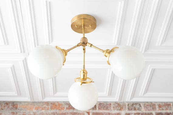 Semi Flush Globe Light Ceiling Hanging Lamp Dining Room