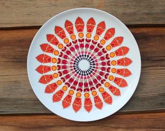 Large decorative plate -Handpainted orange mandala - Wall decoration