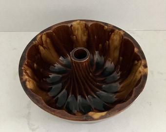 Bundt Pan Swirl Pottery Brown Glaze Rustic Farmhouse Decor