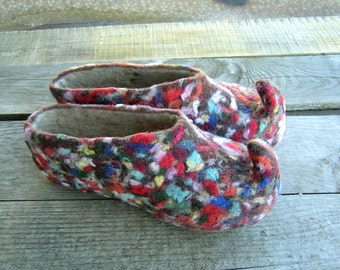 Wool Mosaic...Felted slippers Multicolour
