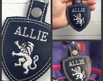 School Spirit - Great Hearts Lion personalized tags - lion and shield - navy and white - custom made