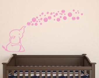 Elephant Wall decal - nursery Wall sticker - wall art - blowing bubbles REMOVABLE