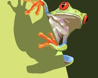 Big Sur, California - Tree Frog - Lantern Press Artwork (Art Print - Multiple Sizes Available)