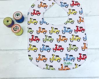 Baby bib, dribble bib, feeding bib. Handmade in cute Scooter, Vespa, mod Baby 100% cotton fabric