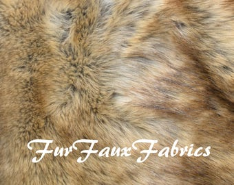 """Light Wolf Grizzly Print Soft Luxury Animal Prints By the Yard Remnants Faux Fur Fabrics Exotic Shag Mongolian 60"""" Width"""