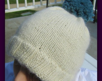Hand knitted Hat with pom pom, Child hat, Unisex Adult hat // Made from the softest Baby Alpaca// Many Colors and Sizes to Choose from