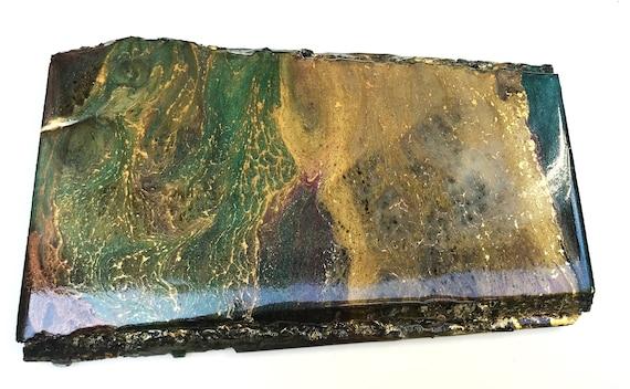 Emerald Edge (live edge wood coaster & wall art / maroon, green, gold)